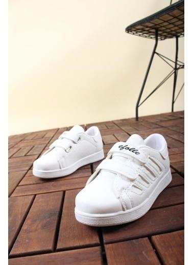Oksit Efolle Cırtlı Garson Çocuk Spor Ayakkabı Beyaz